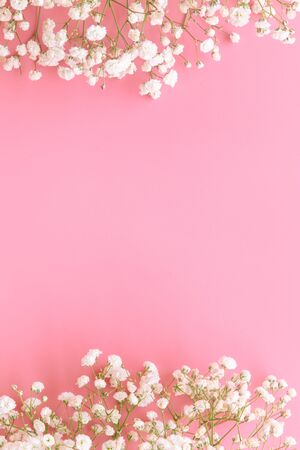 Gypsophila white baby's breath on pastel pink background with copy space in vertical. Sweet and beautiful wallpaper for Valentine or wedding backdrop design. Gypsophila flower is mean forever love.