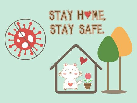 Text Stay home stay safe vector background with home icon and cute dog. Coronavirus or covid 19 campaign for awareness and self quarantine for prevention disease pandemic. Social distancing concept. 向量圖像