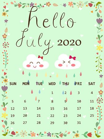 Cute calendar 2020 July in rainy season concept with copy space. Cute pastel blue sky color background with white cloud and raindrop and white heart look so sweet and romantic.Wallpaper vector design. 向量圖像