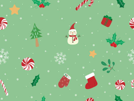 Sweet and beautiful Christmas seamless pattern background with candy cane, mistletoe, snowman, glove and sock on pastel green wallpaper. Cute vector art with snowfall for xmas and new year design 向量圖像