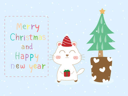 Sweet and beautiful Christmas card with white dog and gift box, xmas tree and text Merry Christmas on pastel blue background. Cute vector art design with snowfall for xmas and new year wallpaper. 向量圖像