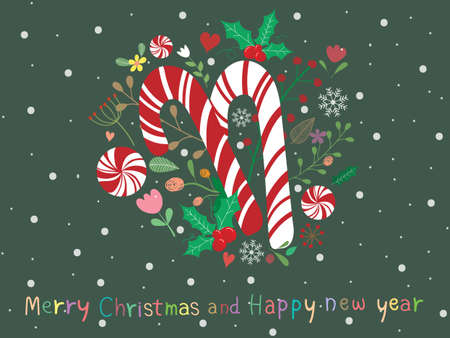 Sweet and beautiful Christmas background with candy cane, mistletoe, flower, tree and text Merry Christmas on dark green wallpaper. Cute vector art with snowfall for xmas and new year design.