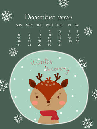 Winter green background with cute reindeer and 2020 December calendar under snowflake. Sweet and cute wallpaper vector art design for season greetings Christmas and happy new year celebration festival