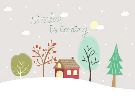 Winter background with home and trees under moonlight and snowfall. Sweet and cute wallpaper with text winter is coming for season greetings Christmas and happy new year celebration.