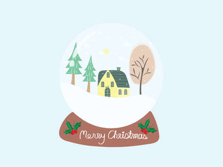 Sweet and beautiful snow ball with home and trees under snow fall and text Merry Christmas on pastel blue background. Cute vector art design night with snowfall for xmas and new year wallpaper.
