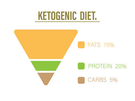 Ketogenic diet food pyramid to show proportion 75% healthy fat, 20% protein and 5% carbohydrate, keto diet infographic or diagram, lose weight trend, Vector illustration art design for healthy concept