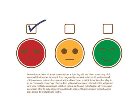 Tick sign on unhappy and moody face to show bad feedback rating and negative customer service review, experience, satisfaction survey ,mental health assessment and world mental health day concept.