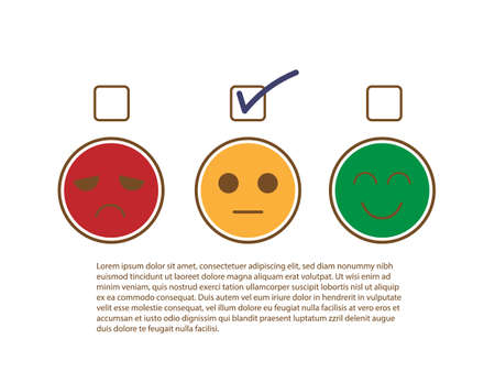 Tick sign on moderate or fairly face to show moderately feedback rating of customer service review, experience, satisfaction survey ,mental health assessment and world mental health day concept.