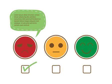 Tick on unhappy face and speech bubble for complain to show bad feedback rating and negative customer service review, experience, satisfaction survey ,assessment and world mental health day concept.