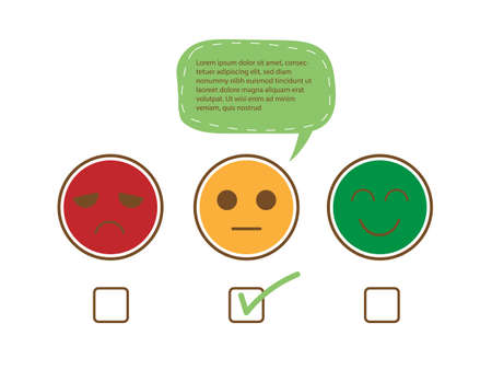 Tick on fairly face and speech bubble for complain to show moderately feedback rating of customer service review, experience, satisfaction survey ,assessment and world mental health day concept.