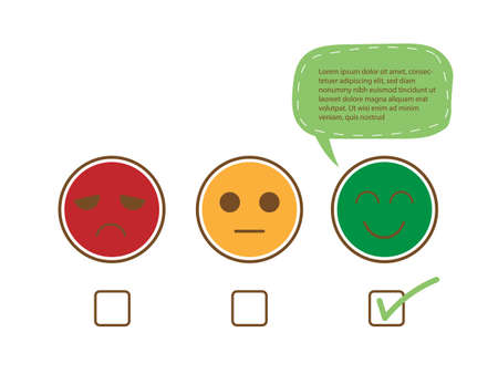 Tick sign on happy smile face with speech bubble for complain, good feedback rating positive customer service review, experience, satisfaction survey ,assessment and world mental health day concept.