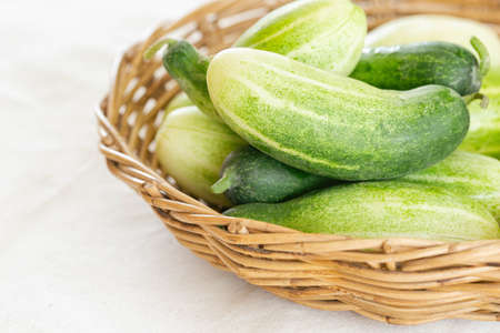 Close up group of fresh organic cucumber or zucchini in wood basket on white table. Cucumber or zucchini is crunchy vegetable which have sweet taste and crunchy for salad and cooking. 版權商用圖片