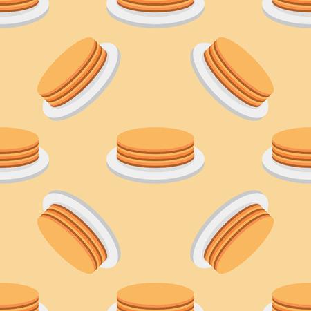 Seamless pattern of pancakes on a plate. Ilustração