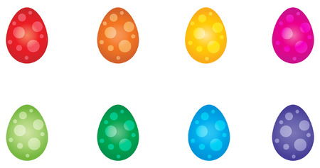 Set of 8 vibrantly rainbow colored eggs decorated with a dot pattern.