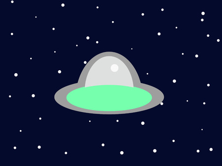 Little alien ship floating among the stars in space. Ilustração