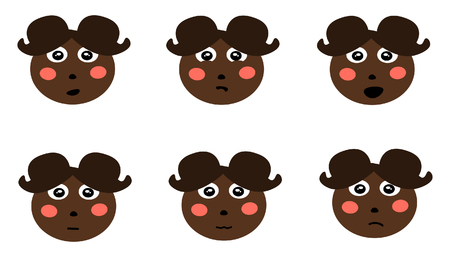 Dark skinned cartoon girl with styled brown hair and six different facial expressions.