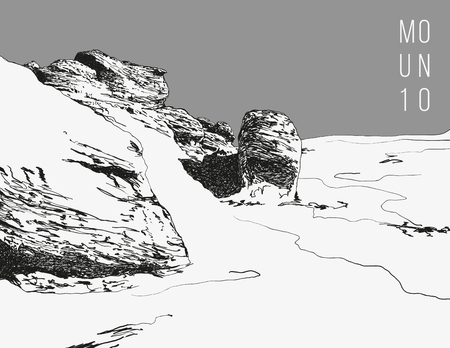 rural areas: Realistic monochrome hand drawn illustration with a rocky landscape.