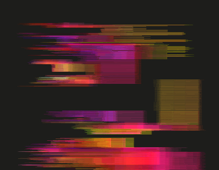 digital signal: Glitched horizontal stripes. Colorful night lights. Digital signal error. Abstract background for a poster, cover, business card or postcard. Element of design.