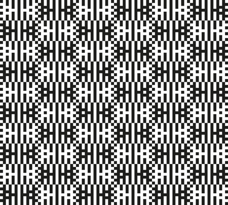 tessellation structure: Interlacing monochrome stripes and squares. Endless black and white texture. Bold pixel geometric shapes. Optical illusion. Seamless pattern for a background.