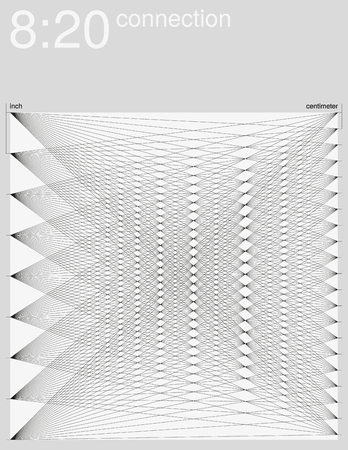 inch: Visual experiment. Horizontal connection of an inch line and a centimeter line. Monochrome illustration. Illustration