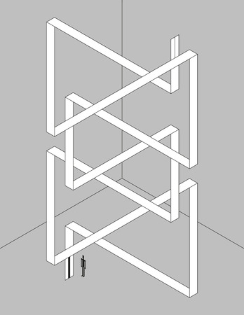 schematic: Monochrome isometric illustration. Schematic twisted ribbon as an elevator with optical illusion.