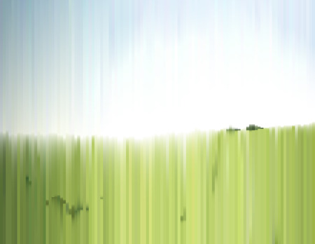 air filter: Sunny summer landscape with effect of a sliced photo. Green grass field and clear sky. Gradient background for a poster, cover, business card, invitation, banner, or postcard. Illustration