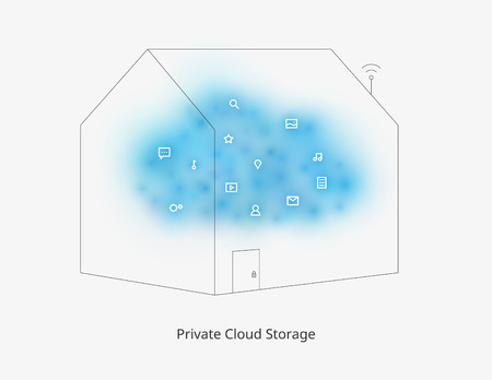 private cloud: Private cloud storage. Modern web technologies. Contemporary developments. Colorful illustration with a set of flat minimalistic icons. Template for a poster, cover, business card or postcard.