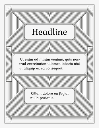 title page: Wide linear monochrome frame with three sections. Old fashioned minimalistic book style. Element of design for a cover, title page, certificate or greeting card.