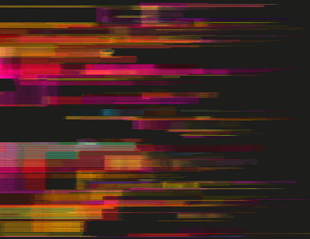 collapsing: Glitched horizontal stripes. Illustration of colorful night lights. Abstract background with a digital signal error and collapsing data. Element of design.