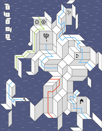 spacecraft: Geometric spacecraft with abstract icons