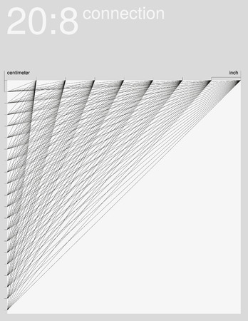 inch: Visual experiment. Diagonal connection of an inch line and a centimeter line. Monochrome illustration.