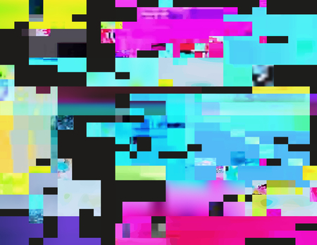 digital signal: Glitch background in the rave aesthetic. Random digital signal error. Abstract contemporary print made of colorful pixel mosaic. Element of design for a trendy poster, cover, invitation or postcard.
