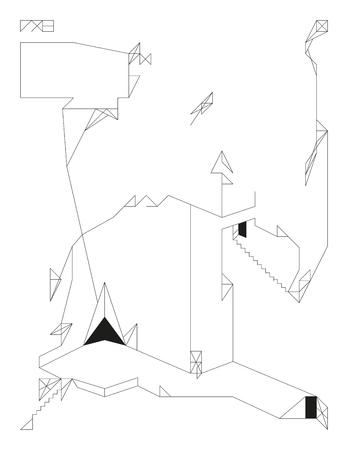 Diminutos Juguetes Geométricas Abstractas. Plantilla De Contorno ...
