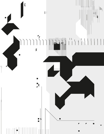 deconstruction: Abstract monochrome geometric composition. Contrast cybernetic backdrop with a sharp elements. Modern digital shapes. Background template for a poster, cover, annual report, invitation or postcard. Illustration