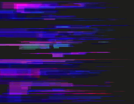 digital signal: Glitched horizontal stripes. Illustration of colorful night lights. Abstract background with a digital signal error and collapsing data. Element of design.