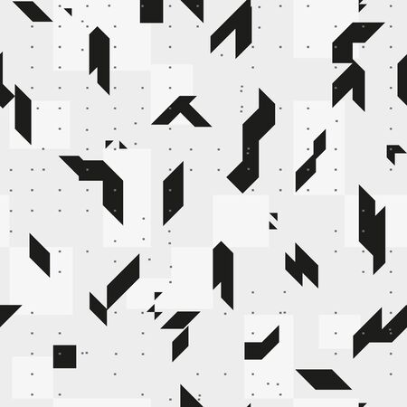 discrete: Sharp geometric shapes. Monochrome seamless pattern. Texture for a background.