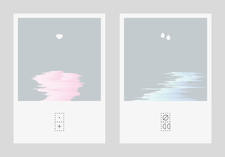 decomposition: Diptych illustration with mild glitched gradient shapes. Short visual story about broken relationships. Abstract emotional expressive postcards. Illustration