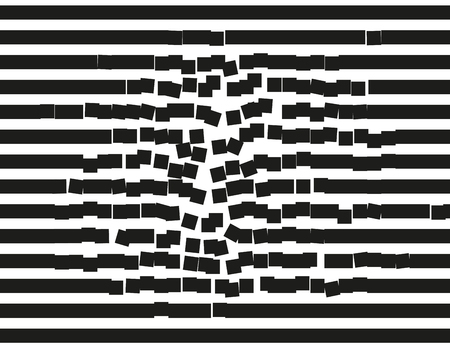decomposition: Destructing stripes. Falling down rectangular blocks. Background illustration, pattern.