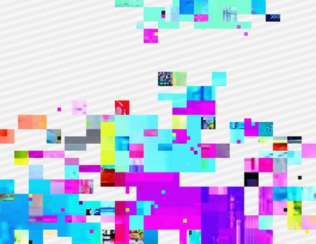 digital signal: Colorful glitched shapes. Decorative layer for effect of corrupted image. Random digital signal error. Abstract contemporary background made of acid pixel mosaic. Element of trendy design. Illustration