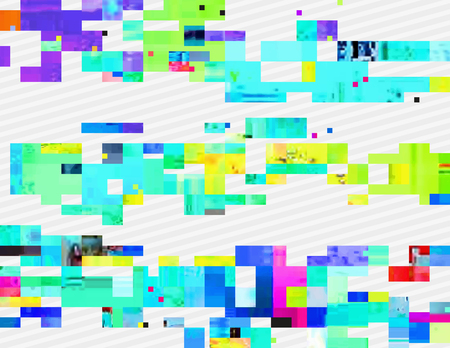 fluorescence: Colorful glitched shapes. Decorative layer for effect of corrupted image. Random digital signal error. Abstract contemporary background made of acid pixel mosaic. Element of trendy design. Illustration
