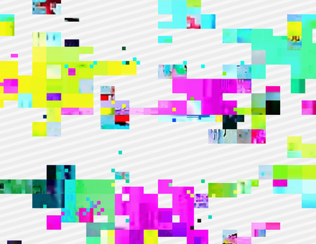 corrupted: Colorful glitched shapes. Decorative layer for effect of corrupted image. Random digital signal error. Abstract contemporary background made of acid pixel mosaic. Element of trendy design. Illustration