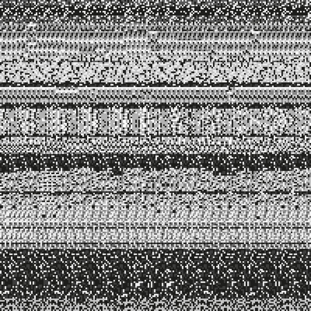 corrupted: Static noise texture made of random repetitive gray rectangular dots. Corrupted display signal. Monochrome seamless pattern for a background.