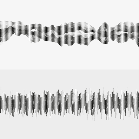 Segmentedwaves. Advanced digital music visualization. Monochrome illustration of sound frequencies.