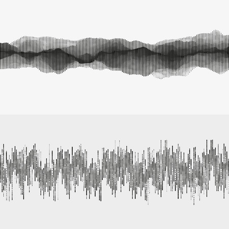 Segmented waves. Advanced digital music visualization. Monochrome illustration of sound frequencies. Element of design.