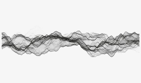Abstract wavy structure . Swarm of dots. Random rippled monochrome curved shape. Modern  illustration. Element of design.