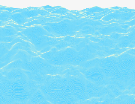 Linear colorful procedural water surface. Striped digital extraterrestrial liquid structure. Trendy wireframe cybernetic waves. Modern illustration for a background. Element of design.