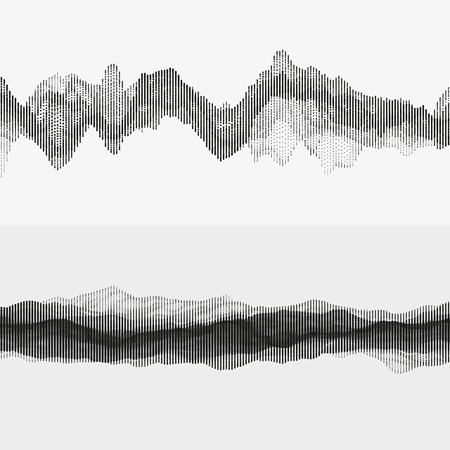 sonic: Segmented vector audio waves. Advanced digital music visualization. Monochrome illustration of sound frequencies. Element of design. Illustration