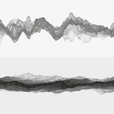 Segmented vector audio waves. Advanced digital music visualization. Monochrome illustration of sound frequencies. Element of design. Illustration