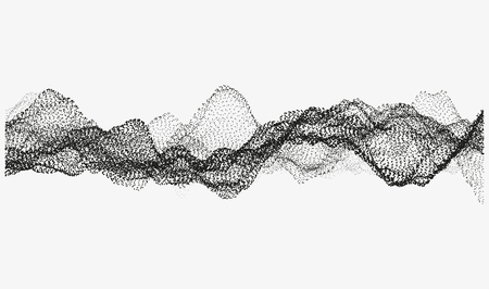 Abstract wavy structure made of shuffled round particles. Swarm of dots. Random rippled monochrome curved shape. Modern vector illustration. Element of design.