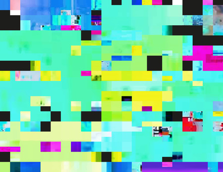 fluorescence: Glitch background in a rave aesthetic. Random digital signal error. Abstract contemporary print made of colorful pixel mosaic. Chaotically shuffled blocks of corrupted data. Element of design. Illustration